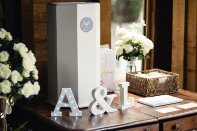 tennis themed wedding postbox and guest book