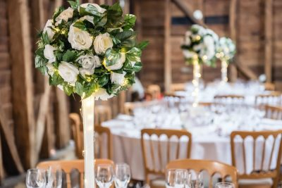 rustic floral ivory centrepieces