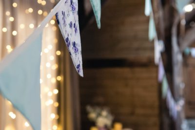 purple and blue floral bunting