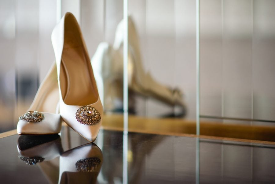 White wedding shoes with diamante detailing